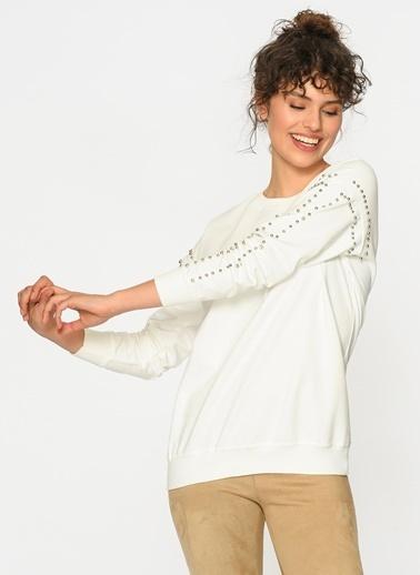 Loves You Kolları Trok Detaylı Şardonlu Sweatshirt Beyaz